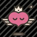 crown, flying, heart, wings