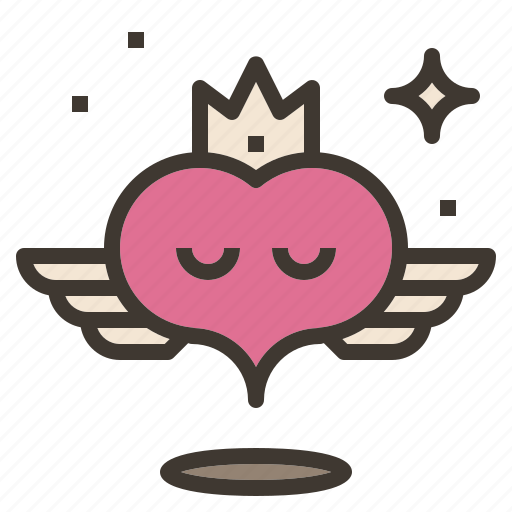 crown, flying, heart, wings icon