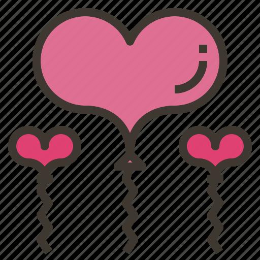 balloon, decoration, heart, valentines icon