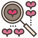 dating, looking, love, magnifier, searching icon