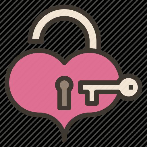 heart, key, unlock, valentine icon
