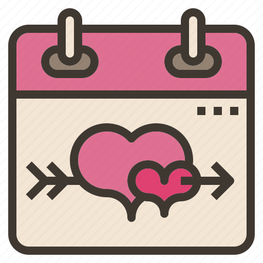 calendar, day, heart, love, valentines icon