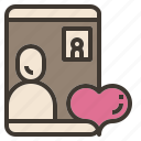 call, communication, love, valentine, video icon