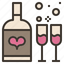 bottle, celebration, couple, glass, valentine, wine icon