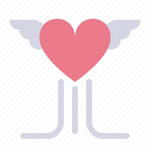 day, flying, heart, love, valentines, wings icon