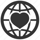 celebration, distance, earth, favorite, global, globe, heart, international, love, planet, romantic, valentine, valentine's day icon
