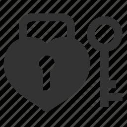 celebration, heart, key, lock, locked, love, padlock, protection, safe, secure, unlock, valentine, valentine's day icon