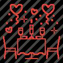 date, restaurant, romantic, valentine's day icon