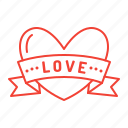 heart, love, ribbon, valentine, valentine's day icon
