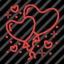 balloons, decor, hearts, romance icon