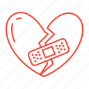 broken, heart, love, patch icon