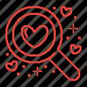 find, love, romance, search icon