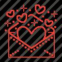 envelope, hearts, invitation, valentine icon