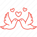 day, doves, love, romance, valentines icon