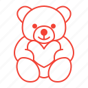 bear, heart, teddy, toy icon