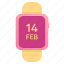 14, february, gift, goals, hand, icon, love, relationship, set, smart, valentine, watch icon