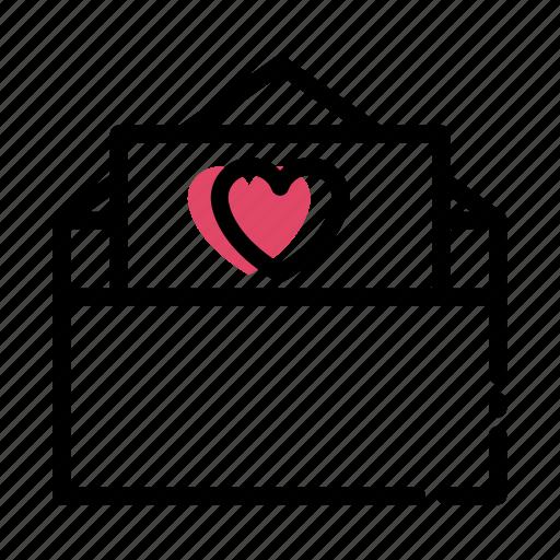 envelope, flat, letter, love, valentine icon