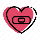 flat, healing, heart, love, valentine icon
