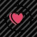 flat, focus, heart, love, target, valentine icon