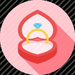 favorite, heart, love, ring, valentine, valentines icon