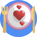 heart, dinner, love, valentines, romance, relationship, couple icon