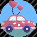 balloon, car, decoration, heart, love, pink, valentines