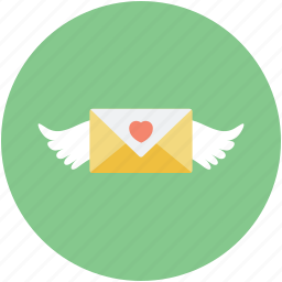 flying letter, flying message, letter with wings, love inspiration, vintage correspondence theme icon