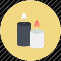 burning candles, candle light, candles, illuminated, spiritual light icon