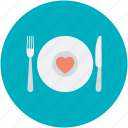 dining, fork, heart sign, plate, spoon