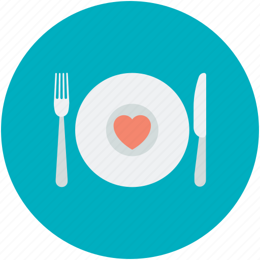 Dining, fork, heart sign, plate, spoon icon - Download on Iconfinder