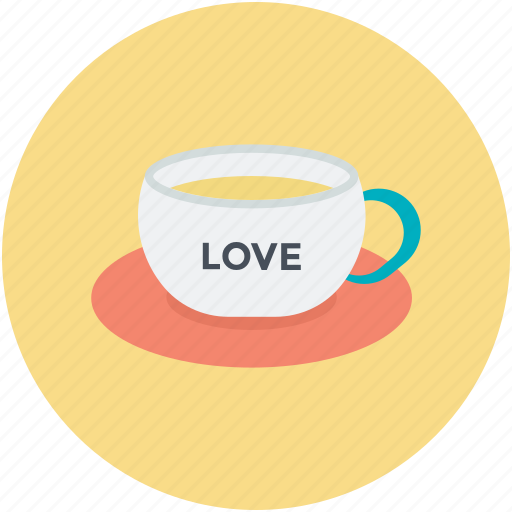 heart teacup, passion, saucer, tea, valentine day icon