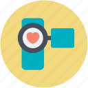 camcorder, camera, heart sign, movie camera, ove moments icon