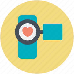 camcorder, camera, heart sign, movie camera, ove moments icon