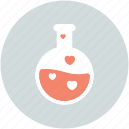 chemical flask, love analysis, love symbol, marriage, research icon