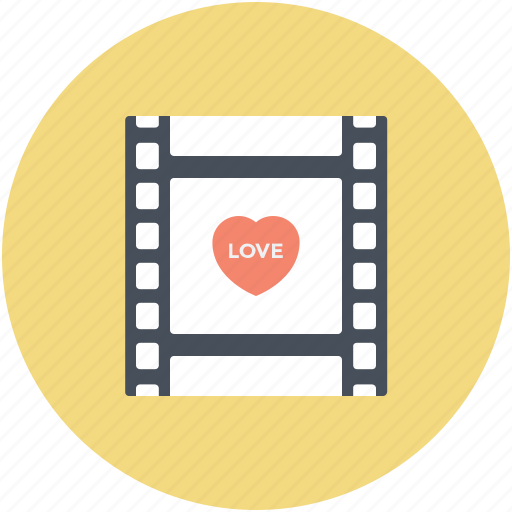 Film reel, film strip, hearts sign, romantic film, romantic movie icon - Download on Iconfinder