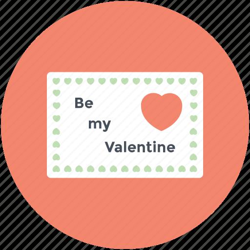 greeting card, love message, postcard, romantic, valentine card icon