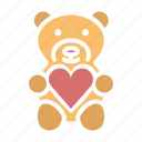 gift, heart, love, romance, teddy bear, valentines icon