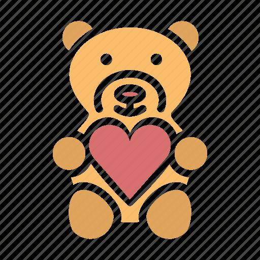 gift, heart, love, romance, teddy bear, valentines icon