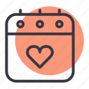 calendar, day, love, romance, valentines icon