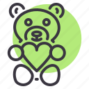gift, heart, love, present, romance, teddy bear, valentines icon