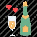 celebrate, champagne, date, day, heart, love, valentines
