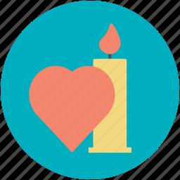 burning candle, candle light, candle with heart, illuminated, spiritual light icon