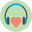 headphone with heart, love inspiration, love music, love songs, love theme icon