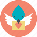 dove with letter, love correspondence, love inspiration, love theme, retro correspondence icon