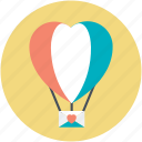 fun, heart shape, hot air balloon, love, love in air icon