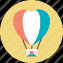 fun, heart shape, hot air balloon, love, love in air
