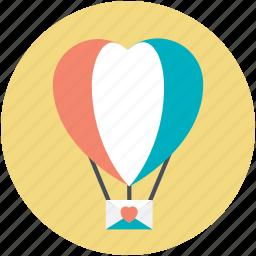 fun, heart shape, hot air balloon, love, love in air icon