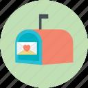 heart sign, letter box, love correspondence, love theme, mailbox icon