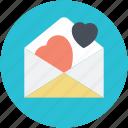 envelope with hearts, romantic theme, valentine day, wedding anniversary, wedding invitation icon