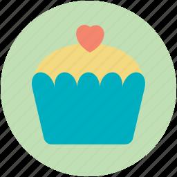 cake, cupcake, dessert, heart sign, muffin icon
